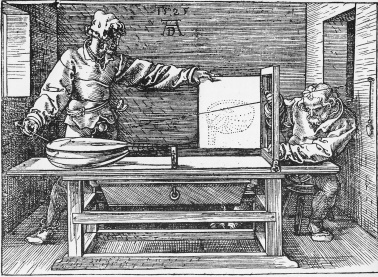 "An apparatus for the accurate outlining of an object from a specific viewpoint (from Albrecht Durer's ""Underweysung der Messung"", 1525)"